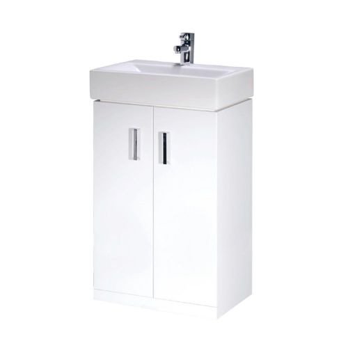 Cubi 450mm White Gloss Floor Standing Cabinet & Basin